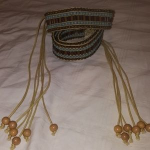 Vintage Belt Made Of Colored Wood Beads & String